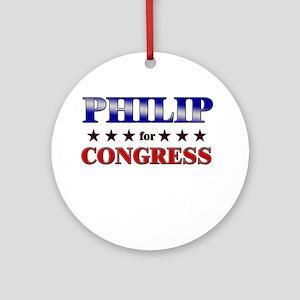 PHILIP for congress Ornament (Round)