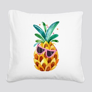 Colorful Pineapple Watercolor Square Canvas Pillow