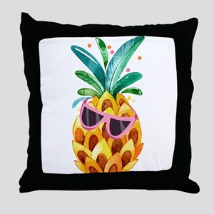 Colorful Pineapple Watercolors Illust Throw Pillow