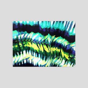 teal tropical leaf watercolor 5'x7'Area Rug
