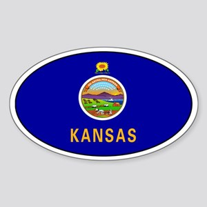 Kansas State flag Oval Sticker