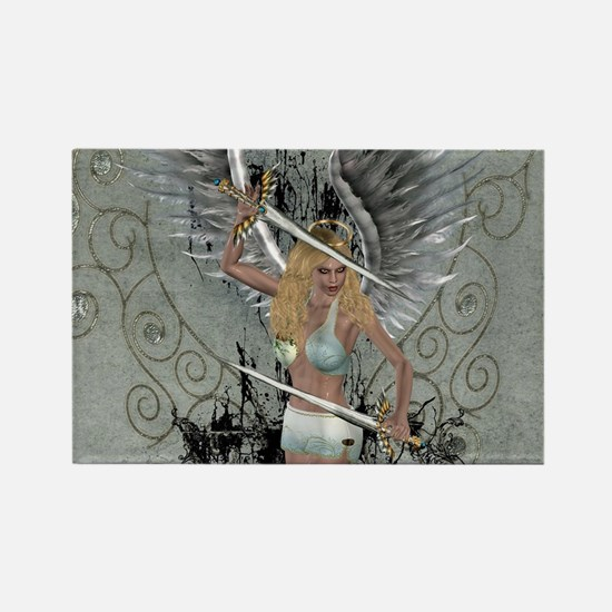 Wonderful angel with sword and wings Magnets