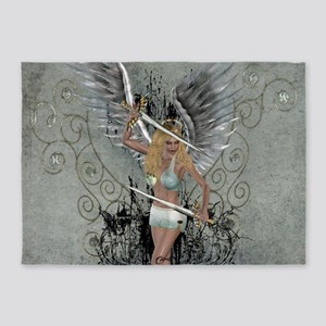 Wonderful angel with sword and wings 5'x7'Area Rug