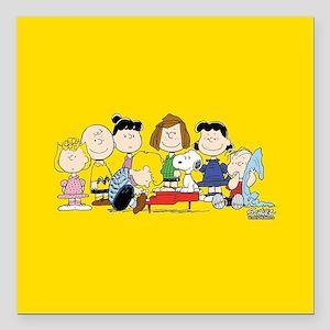 "Peanuts Gang Music Square Car Magnet 3"" x 3"""