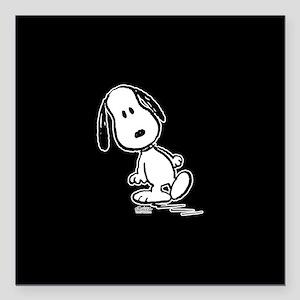 "Peanuts Snoopy Square Car Magnet 3"" x 3"""