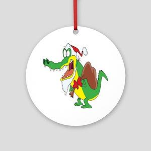 Christmas Crocodile Ornament (Round)