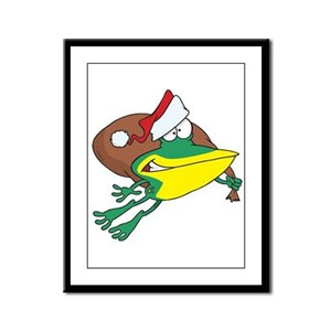 Christmas Frog Framed Panel Print