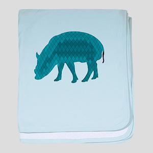 Geometric Pig baby blanket