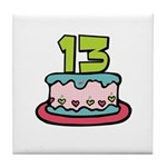 13th Birthday Cake Tile Coaster