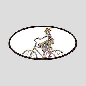 Chromatic Rainbow Woman Bicycling Patch