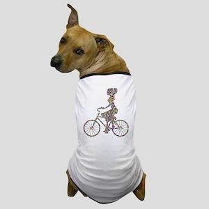 Chromatic Rainbow Woman Bicycling Dog T-Shirt