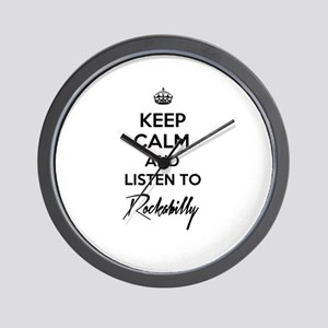 Keep calm and listen to Rockabilly Wall Clock