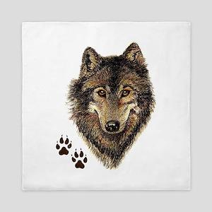 Watercolor Wolf Head Logo & Tracks Queen Duvet
