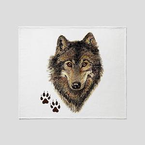 Watercolor Wolf Head Logo & Tracks Throw Blanket