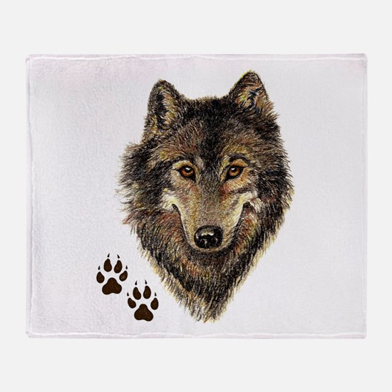Watercolor Wolf Head Logo & Tracks Throw Blanket