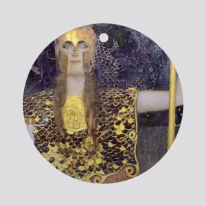 Gustav Klimt Pallas Athene Round Ornament