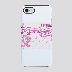i Heart Music with Flower iPhone 8/7 Tough Case
