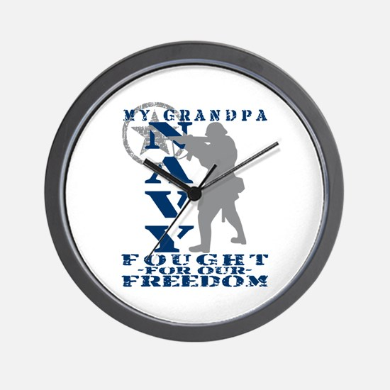 Grndpa Fought Freedom - NAVY  Wall Clock