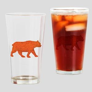 American Black Bear Walking Side Retro Drinking Gl