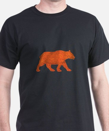 American Black Bear Walking Side Retro T-Shirt