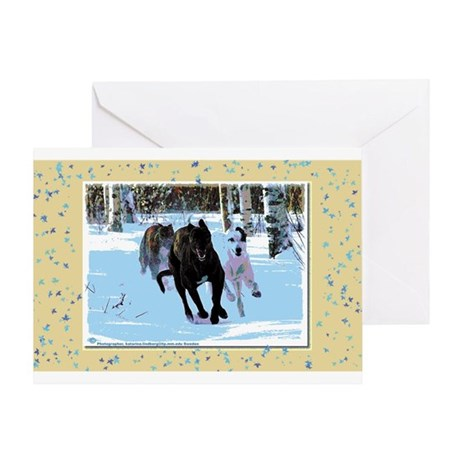Greyhounds in Snow Greeting Card