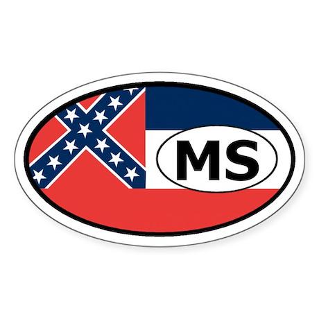 Mississippi State Flag Oval Sticker