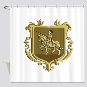 Knight Riding Steed Lance Coat of Arms Retro Showe