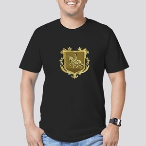 Knight Riding Steed Lance Coat of Arms Retro T-Shi