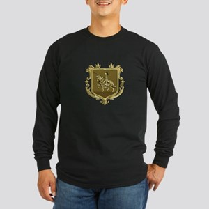 Knight Riding Steed Lance Coat of Arms Retro Long