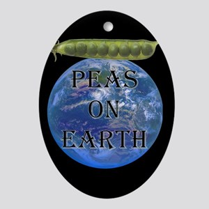 Peas on Earth Oval Ornament