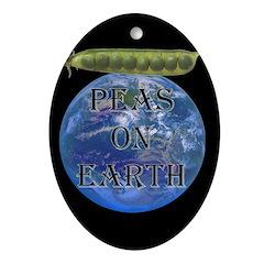 Peas on Earth Oval Ornament