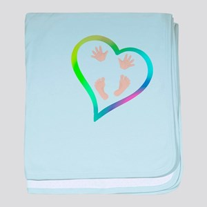 Baby Hands and Feet in Heart baby blanket