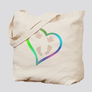 Baby Hands and Feet in Heart Tote Bag