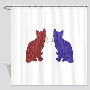Geometric Cat Art Shower Curtain