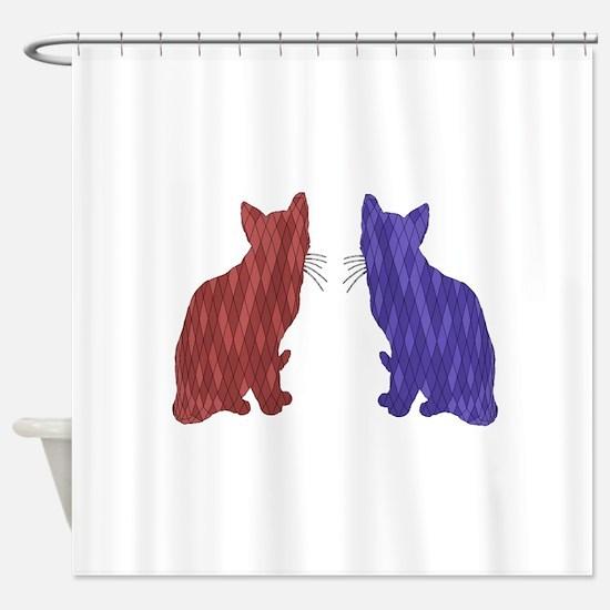 Geometric Cat Art Shower Curtain