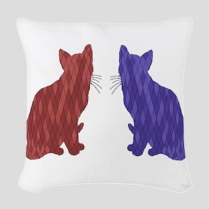 Geometric Cat Art Woven Throw Pillow