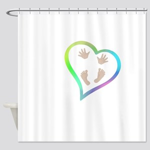 Baby Hands and Feet in Heart Shower Curtain