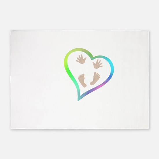 Baby Hands and Feet in Heart 5'x7'Area Rug