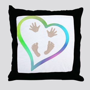 Baby Hands and Feet in Heart Throw Pillow