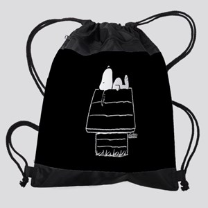 Snoopy on House Black and White Drawstring Bag