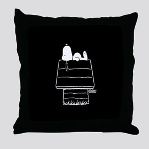 Snoopy on House Black and White Throw Pillow