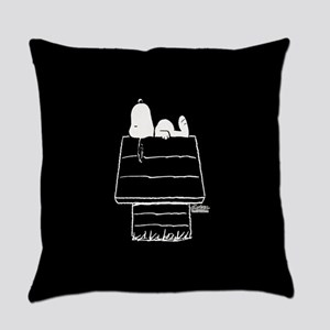 Snoopy on House Black and White Everyday Pillow