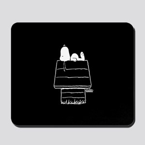Snoopy on House Black and White Mousepad