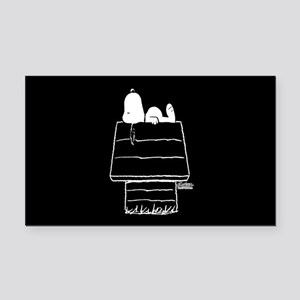 Snoopy on House Black and Whi Rectangle Car Magnet