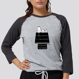 Snoopy on House Black and Whit Womens Baseball Tee
