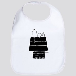 Snoopy on House Black and White Cotton Baby Bib