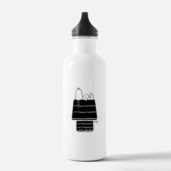 Snoopy on House Black Water Bottle