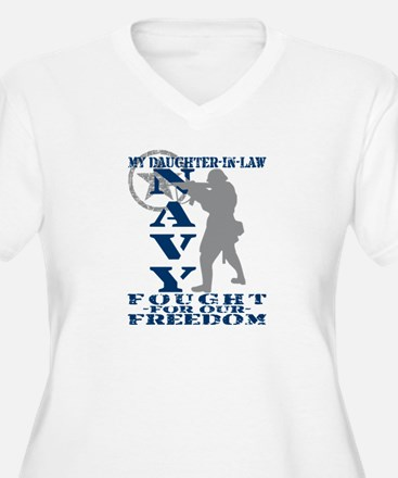 Dghtr-n-Law Fought Freedom - NAVY  T-Shirt