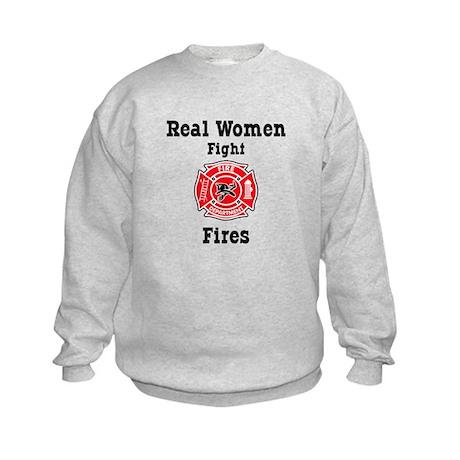 Real Women Fight Fires Kids Sweatshirt