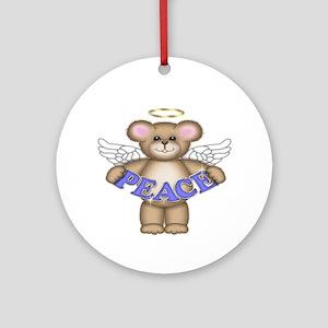 Peace Christmas Angel Bear Ornament (Round)